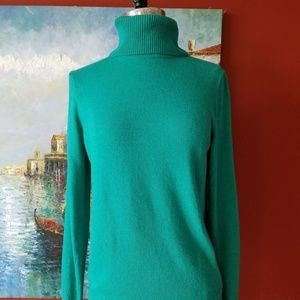 J. CREW Green Wool Long Turtleneck Top Sweater